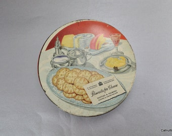 Biscuit Tin London England Huntley and Palmers Vintage Round Metal Container