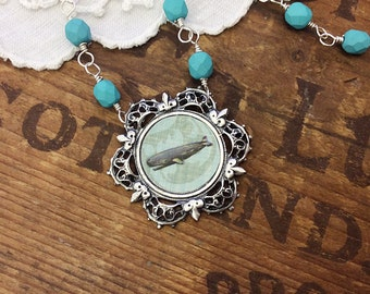 Teeny Tiny Whale Silver Statement Necklace turquoise necklace nautical necklace whale pendant
