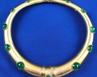 Gorgeous Golden Choker w/Green Stones