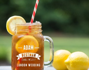 Best Man/Mason Jar Mugs/Custom/Name/Date/Groomsman/Engraved/Wedding Party/Glasses/Wedding Glass/Wedding Decor/Shower Gift