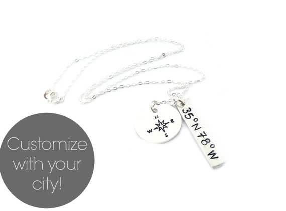Custom Coordinates Necklace - Latitude and Longitude Necklace - Compass Necklace - Silver Geography Necklace - Custom Handstamped Jewelry
