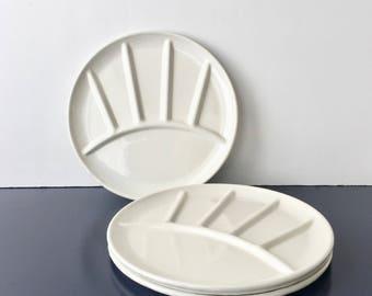 vintage enamel fondue plates white metal sushi set of 4