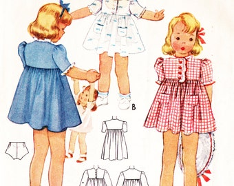 McCall's 3757 Toddler Girl's Vintage 1940s Dress and Panties Sewing Pattern