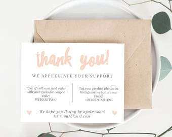 INSTANT Business Thank You Cards, Editable PDF Printable Packaging Inserts for Online Shops, Etsy Sellers | Blush Brand, Adelie | Download