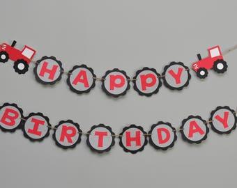 Tractor Tire Birthday Banner, Tractor Happy Birthday Banner, Tractor Party