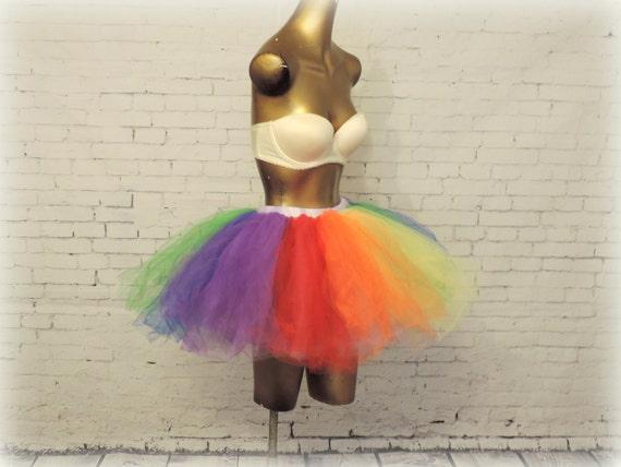 Adult Tutu, Gay Pride tutu, rainbow tutu, rave raver tutu,edc edm tutu outfit, rainbow adult tutu, sewn tutu, tulle skirt, rainbow dash