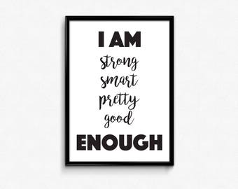 I Am Enough, Fitness Motivation, Motivational Poster, Inspirational Wall Art, Fitness Gifts, Running Gifts