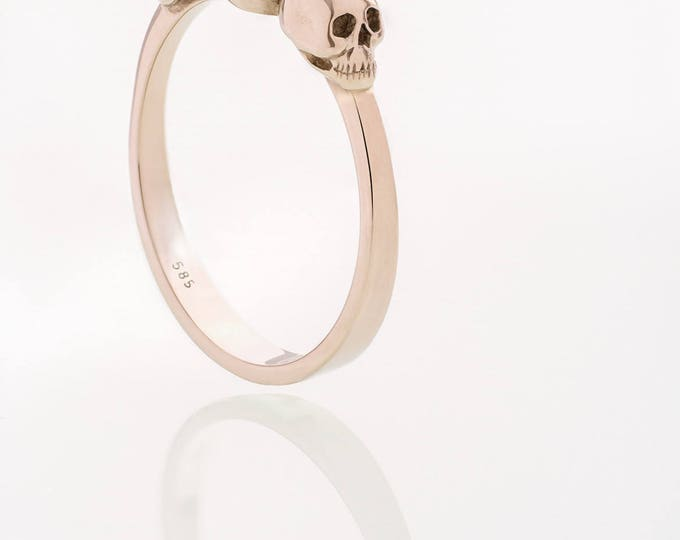 Rose Gold Skull Engagement Ring with 2ct Natural Purple Blue Tanzanite Gemstone- All Sizes