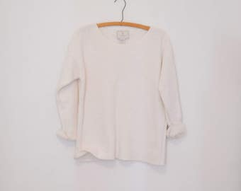 Oversized White Knit Pullover Sweater - 1980s