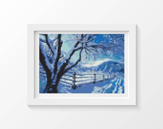Mini Cross Stitch Pattern PDF, Embroidery Chart, Art Cross Stitch, Holiday Cross Stitch, Wintry Day (TAS034)