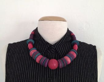 chunky wood necklace 80s statement necklace colorful wood beaded necklace short