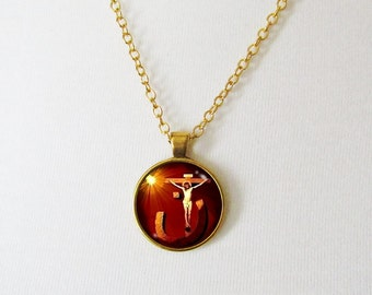 Nun Necklace, Jesus Christ on the Cross, Christian Necklace, Noon Necklace, Cross Necklace, Christian Jewelry, Christian Gifts, Christian