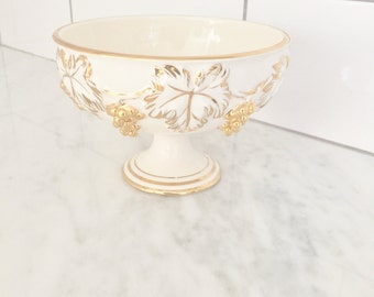 Italian Pedestal Bowl, Gilt Trimmed Dish, Grapes and Ivy, Made in Italy, Shetland Pottery, Footed Bowl