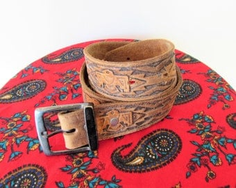 Vintage Tooled Leather Southwest Native American Hippie Belt