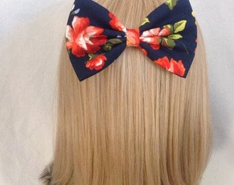 Oversized floral hair bow clip rockabilly psychobilly kawaii kitsch vintage pin up girl navy red floral pretty flower ladies large big