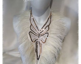Ivory/Cream Ostrich feather and gold sequin Necklace Bib Collar Show-stopping Statement