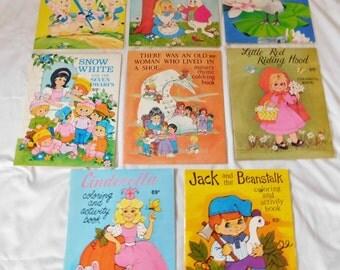 8 vintage COLORING BOOKS 1986 Landoll all unused