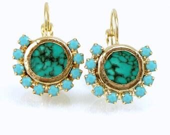 Turquoise Gold Earrings, Gemstone Dangle Earrings, Turquoise Jewelry, December Birthstone, Turquoise Drop Earrings, Turquoise Earrings.