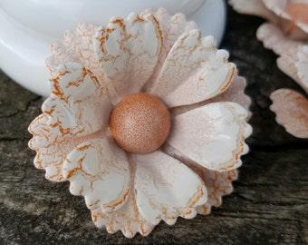 Crackled Enamel Flower Brooch Metal Flower Pin Peach White and Orange Enamel Broach Wedding Orange Brooch Bouquet  Retro Flower Pin FB51
