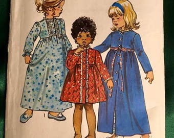 Simplicity VINTAGE Pattern 5994 Size 4~ Toddler Girl Gown and Housecoat Pattern