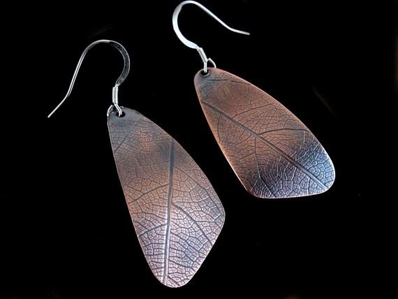 Copper Leaf Earrings, Copper  Artisan Earrings, Dangle Earrings, Rustic Earrings, Copper Drop Earrings, Metalsmith Earrings