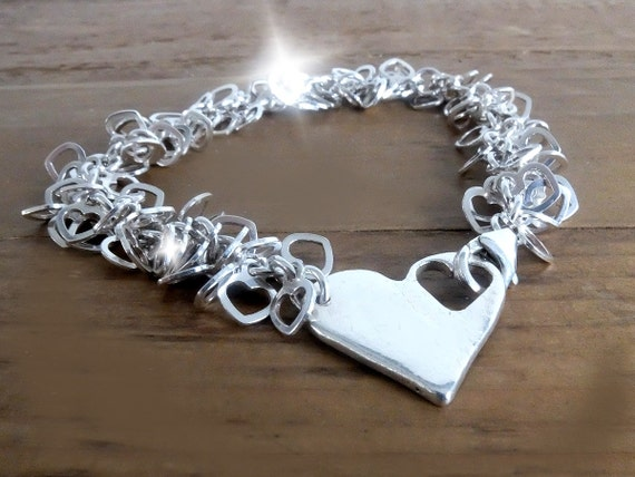 Personalised Silver Bracelet with Heart Clasp, Personalised Bracelet, Bracelet with Names, Bracelet with Initials, Bracelet with Age, Hearts