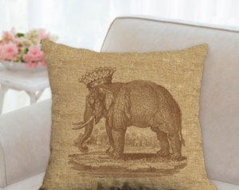 Elephant with Crown Pillow