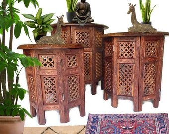 Vintage Wood Carved Tables Teak SET Moroccan Tables Tea Table Coffee Table  India Tabouret Bohemian Decor
