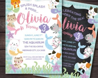 Cat Invitation, Mermaid Invitation Birthday, Kitty cat birthday invitation, Kitten Invitation, Under the Sea Invitation, 2 options, DIGITAL