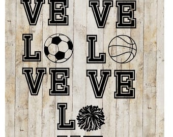 Love Sports, Love Baseball Decal, Love Soccer Decal, Love Basketball Decal, Love Football Decal, Love Cheer Decal, Sport Decal,