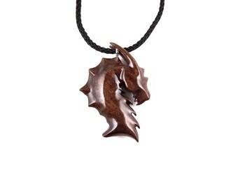 Dragon Necklace, Dragon Pendant, Dragon Jewelry, Mens Dragon Necklace, Wooden Dragon Head Pendant Necklace, Mens Dragon Pendant, Men Jewelry