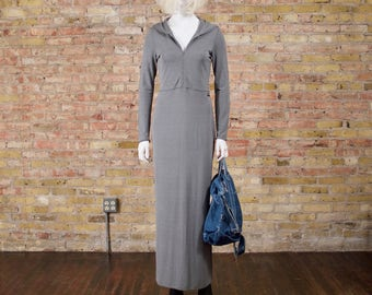 polo jeans 90 maxi dress / hooded dress / grey dress / s - m / minimalist / sporty dress / gray long dress / 90s streetwear / grunge