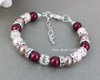 Burgundy, Pink, Taupe Bracelet, Burgundy bracelet, Pearl Jewelry, Bridesmaids Jewelry, Bridesmaid Gift, Christmas Jewelry