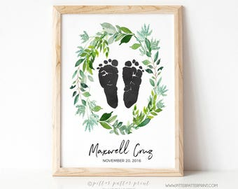 Birth Announcement Wall Art, Watercolor Botanical Wreath Boho Nursery Decor, Personalized Baby Footprints Your Child's Feet 8x10 in UNFRAMED
