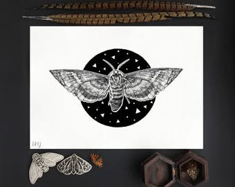 SALE A4 Cosmic Moth Pointillism Print