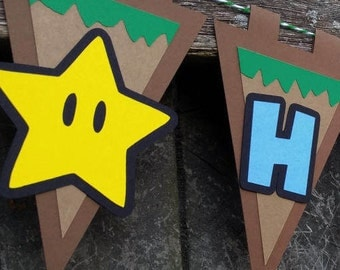 Super Mario Brothers Inspired Happy Birthday Party MINI-Banner