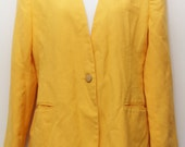 "Express Shipping- 80's Vintage ""ILLUSTRATIONS"" Yellow Flapless Boyfriend Blazer Sz: MEDIUM (Women's Exclusive)"