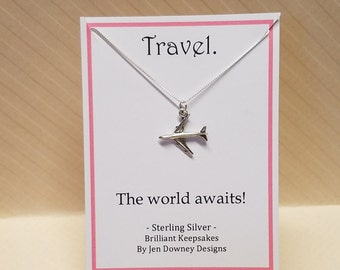 Travel Quote Sterling Silver Airplane Necklace The World Awaits