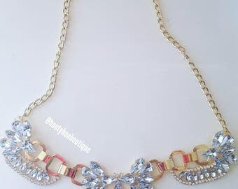 Statement Necklace Crystal Statement Necklace Gold Crystal Bib Necklace Weddings BRIDESMAIDS Proms BoHo Chic chunky necklace