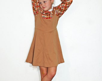 Vintage Love Girls Brown and Orange Polyester Plaid Dress Long Sleeve School Girl Size 6 7 8