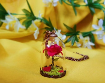 Enchanted Rose necklace inspired in Beauty and The Beast -  vintage flower