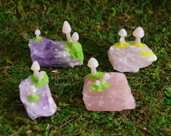 Zen Garden Accessory // Miniature Mushroom Crystal Garden // Amethyst // Rose Quartz Gemstone // Toadstool Fairy Garden // Terrarium Shrooms