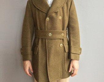 WW2 Army Officer's Overcoat Olive Green double-breasted Wool Jacket. Two Front Flap pockets.  Shawl Collar.  Wool belt.