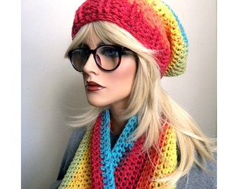 Hat and Scarf Set , Mexican Colors, Infinity Scarf,  Slouchy hat, Wool Blend, Winter Accessories, Gift for Women, Ready to ship