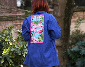 Jacket vintage blue customized with fabric pink flamingo and feather
