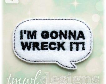 "Wreck It Talk Bubble Feltie Digital Design File - 1.75"""