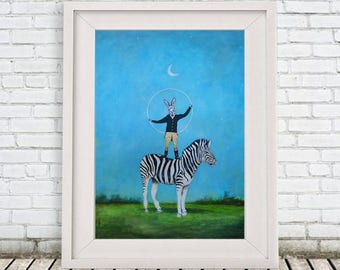 Whymsical Zebra Print, Rabbit Print, Rabbit with zebra, zebra poster, rabbit poster, whymsical poster, whymsical artwork, Coco de Paris