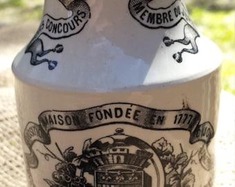 French Ironstone Dijon Grey - Poupon Mustard Jar