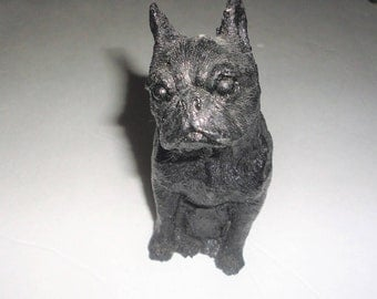 Coal Dog Statue Vintage Home Decor Collectible Terrier Boston Terrier Trinket