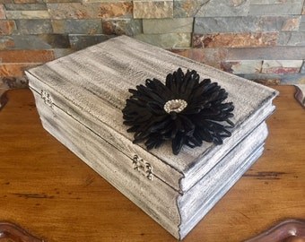 Black and White Distressed, Shabby Chic Keepsake Chest